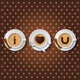 Cappuccino cup with words I love you Royalty Free Stock Image