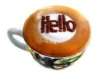 Cappuccino da boa manhã olá! Imagens de Stock Royalty Free