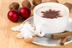 Cappuccino de la Navidad Imagen de archivo libre de regalías