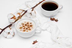 Cappuccino del caffè con le stelle dell'anice e della cannella su fondo bianco fotografie stock
