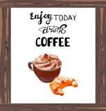 Cappuccino di VETTORE con il croissant e le lettere: Il ` gode di oggi ` del CAFFÈ della bevanda, struttura di legno Fotografia Stock