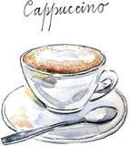 Cappuccino do café do vetor da aquarela ilustração stock