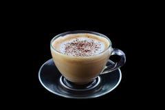 Cappuccino en verre de café de cuvette, latte photo stock