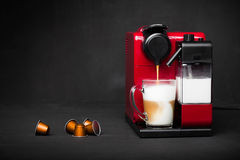 Cappuccino and espresso coffee machine Royalty Free Stock Photography