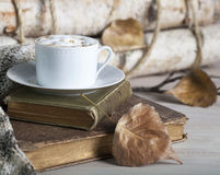 Cappuccino Fall Old Books Royalty Free Stock Images