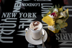 Cappuccino and flower Royalty Free Stock Images