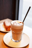 Cappuccino in a  glass Royalty Free Stock Photography