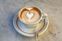 Cappuccino Heart. Cappuccino with heart drawn in foam Royalty Free Stock Image