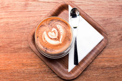 Cappuccino hot coffee in the cup on the table Stock Photo