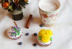 Cappuccino i ciasta Zdjęcia Stock