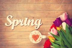 Cappuccino i słowo wiosna blisko kwitniemy Obraz Royalty Free