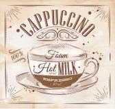 Cappuccino kraft do cartaz ilustração stock