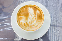 Cappuccino with latte art Royalty Free Stock Photo