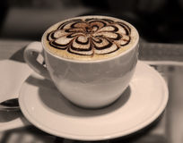 Cappuccino or latte coffee cup with art foam Royalty Free Stock Image