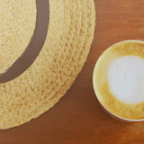 Cappuccino or latte coffee with hat, retro effect Stock Photo