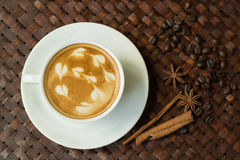 Cappuccino or latte coffee with heart shape Stock Image