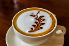 Cappuccino or latte coffee. Royalty Free Stock Images