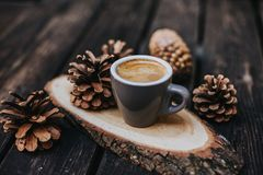 Cappuccino or latte with frothy foam. coffee cup. Cafe and bar, barista art concept. Coffee with milk stock photo