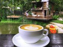 Cappuccino, Latte, Cappuccino kawa, Latte kawa, Latte sztuka, Dojna kawa, Śmietankowa kawa Obraz Royalty Free