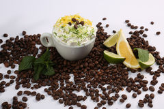 Cappuccino with lime and mint Royalty Free Stock Images