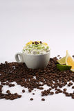 Cappuccino and lime Royalty Free Stock Images