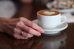 Cappuccino lovers cup of coffee Stock Images