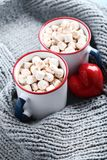Cappuccino with marshmallows stock photography