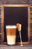 Cappuccino and menu board Stock Photos