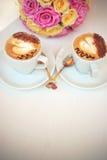 Cappuccino met harten Royalty-vrije Stock Foto's