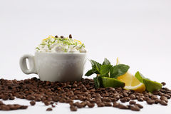 Cappuccino with mint and lime Royalty Free Stock Photos