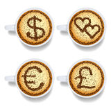 Cappuccino with money and heart signs Royalty Free Stock Photo
