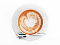 Cappuccino mug close-up, with a heart decorated on top of foam. Top view. At white background with clipping path Stock Photos