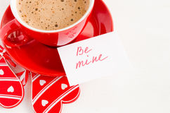 Cappuccino Mug With Wooden Heart and Notes Be Mine. Stock Images