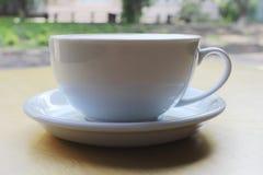 Cappuccino o latte con schiuma schiumosa, primo piano blu di vista superiore della tazza di caff? isolato su fondo bianco Caffè e immagini stock libere da diritti