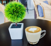 Cappuccino- oder Lattekaffee mit grünem Baum auf der Tabelle hölzern Stockbild