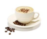 Cappuccino på en vit bakgrund Royaltyfria Foton