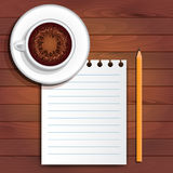 Cappuccino, paper, pencil Stock Photography