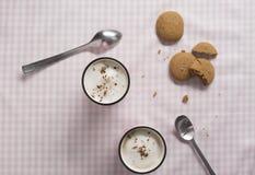 Cappuccino in Pink Mug with Almond Milk Foam Stock Photo