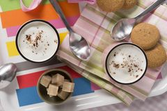 Cappuccino in Pink Mug with Almond Milk Foam Royalty Free Stock Images