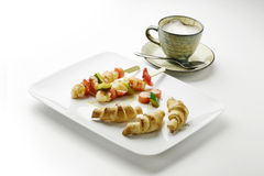 Cappuccino of potato croissants and shrimp skewers and vegetable Stock Photos