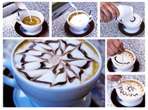 Cappuccino preparation Stock Photography