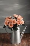 Cappuccino róże w polewaczce Na przetartej drewnianej powierzchni zdjęcie stock