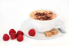 Cappuccino and Raspberries Royalty Free Stock Image