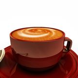 Cappuccino in a red cup Stock Photography