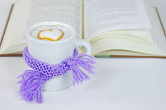 Cappuccino with scarf and book Royalty Free Stock Image