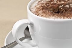 Cappuccino With Spoon Stock Photography