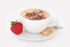 Cappuccino and Strawberry Treat Royalty Free Stock Photo