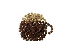 Cappuccino, tazza di caffè e vapore fatti dei chicchi di caffè Immagini Stock