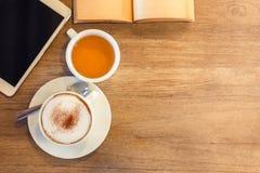 Cappuccino and Tea Stock Photo