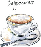 Cappuccino van de waterverf de vectorkoffie Royalty-vrije Stock Fotografie